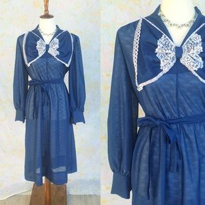 True Vintage🎀60s/70s Secretary Bow Midi Dress!
